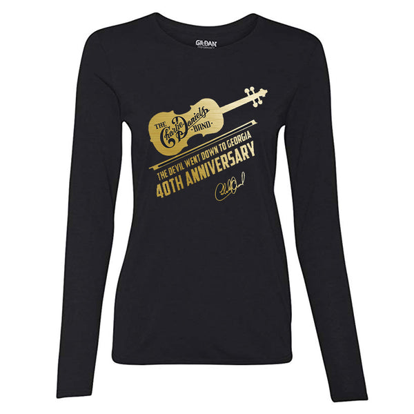 NEW! Long Sleeve Women's The Devil Went Down to Georgia 40th Anniv. Gold Foil Tee