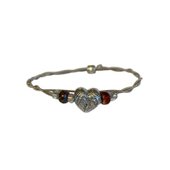 Women's Idle Strings Bracelet - Heart with Wings - Red Beads