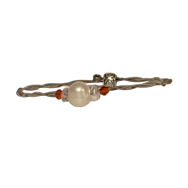 NEW! Women's Idle Strings Bracelet - Freshwater Pearl w/Red Beads