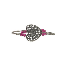 Women's Idle Strings Bracelet - Large Heart w/Pink Beads