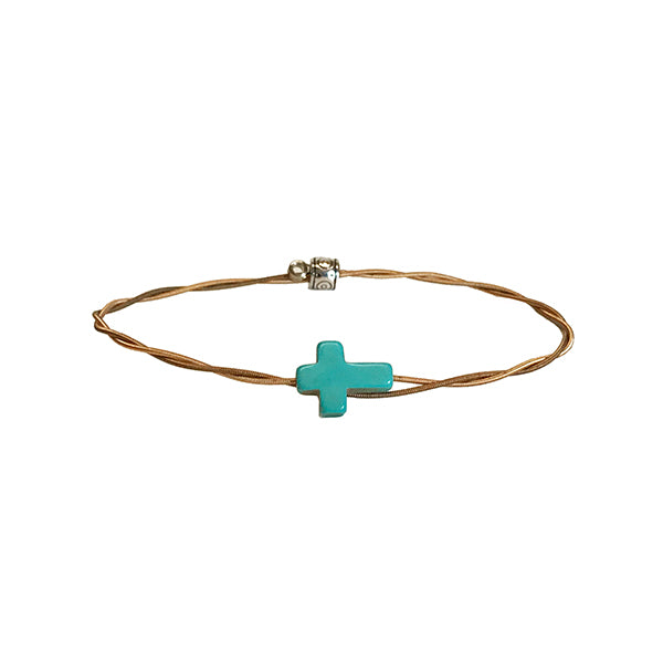 NEW Men's Idle Strings Bronze Bracelet - Turquoise Cross