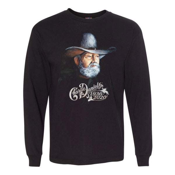 NEW! Long Sleeve Charlie Daniels 1936-2020 Portrait