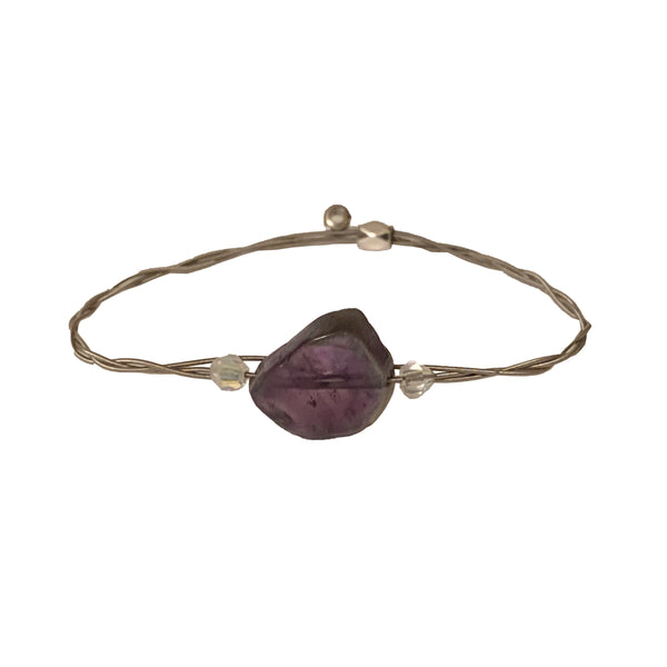NEW! Women's Idle Strings Bracelet Amethyst Chunk & Crystal