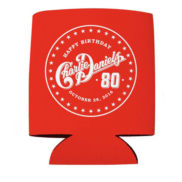 Charlie Daniels 80th Birthday Koozies - Red