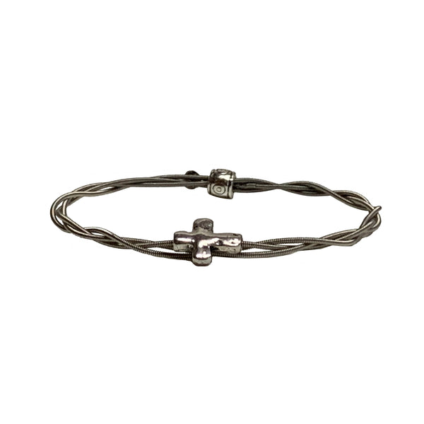 "NEW! Women's Idle Strings Bracelet - Metallic ""Silver"" Cross"