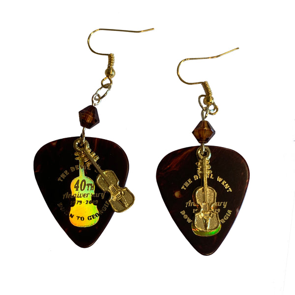 The Devil Went Down to Georgia Guitar Pick with Charms Earrings