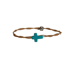 Women's Idle Strings Bronze Bracelet - Turquoise Cross