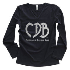 NEW! Women's Long Sleeve CDB Logo Silver Foil V-Neck Tee