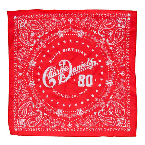 Charlie Daniels 80th Birthday Red Bandana