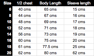 Technical T-Shirt Size Guide