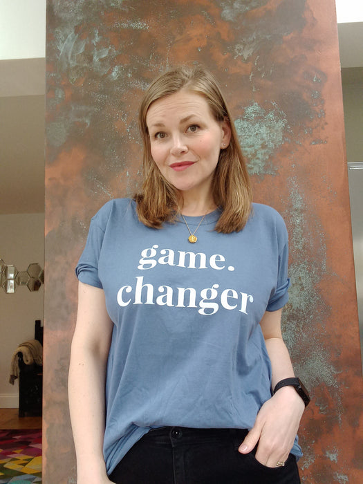 Game Changer - Straight fit 100% cotton tee - Indigo Blue with large white print