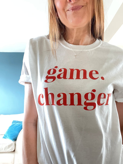 Game Changer - Straight fit 100% cotton tee - White with large red print
