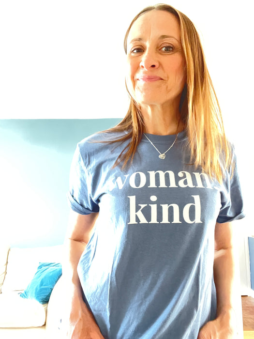 Woman Kind - Straight fit 100% cotton tee - Indigo Blue with large white print