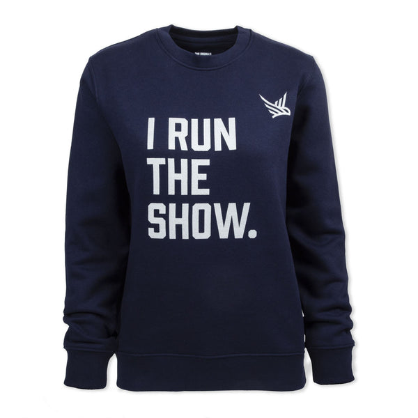 TMR I Run The Show. Organic Sweatshirt. French Navy / Metallic Silver