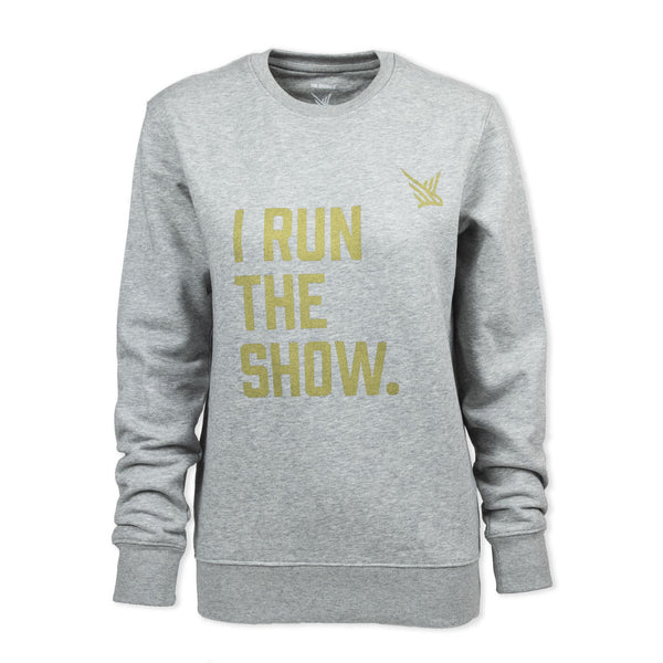 TMR I Run The Show. Organic Sweatshirt. Grey / Metallic Gold