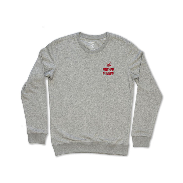 TMR Mother Runner. Organic Sweatshirt. Light Heather Grey / Red