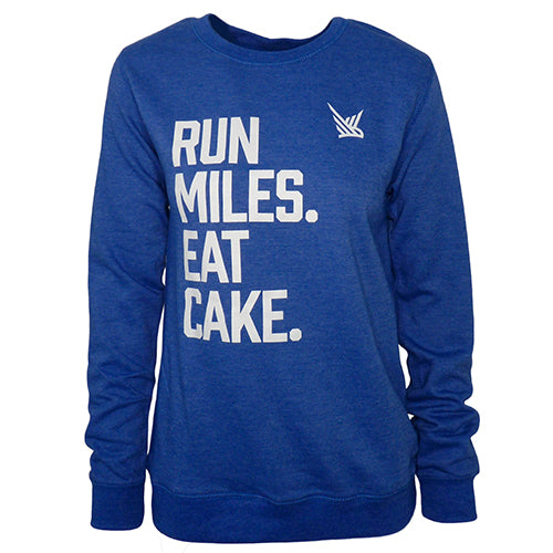 TMR Run Miles. Eat Cake - Heather Royal Sweatshirt