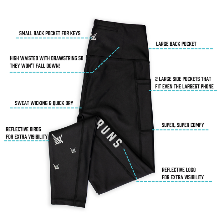 TMR Leggings - This Mum Runs slogan - Black