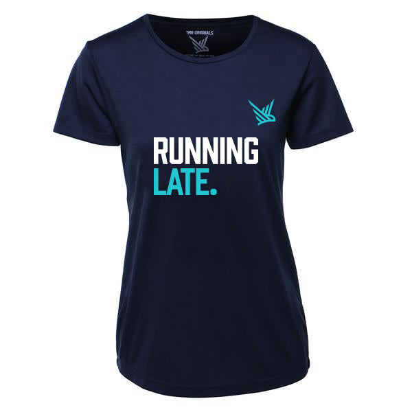 TMR Running Late. T-shirt. Navy and Teal