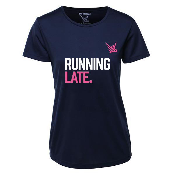 TMR Running Late. T-shirt. Navy and Pink