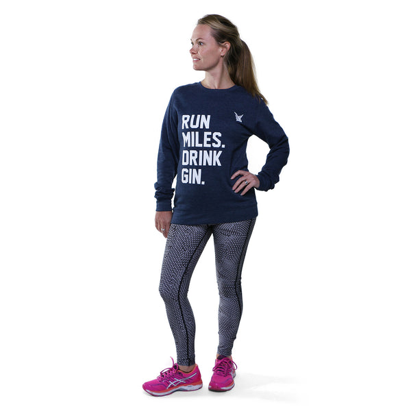 TMR Run Miles. Drink Gin. Sweatshirt. Heather Navy