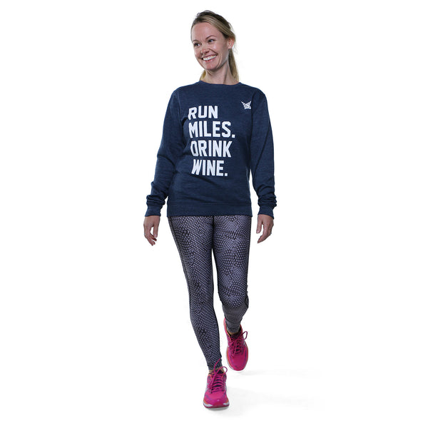 TMR Run Miles. Drink Wine. Sweatshirt. Heather Navy.