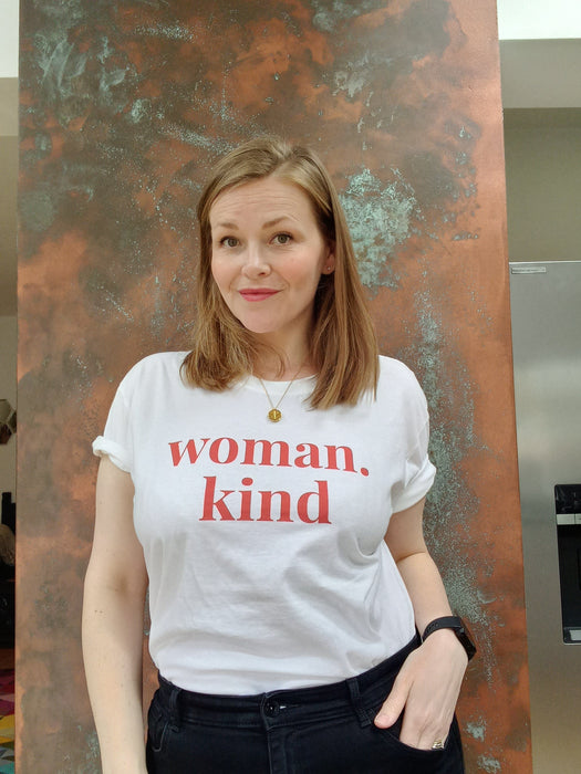 Woman Kind - Straight fit 100% cotton tee - White with large red print