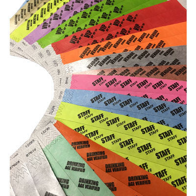3/4 Tyvek Wristbands for Event Planners 500 Box
