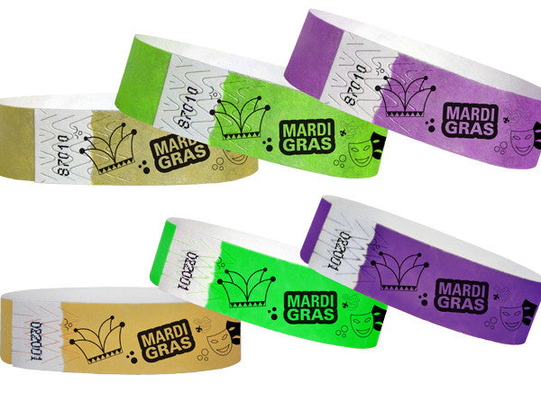 Mardi Gras 3/4 Paper Wristbands 500 box
