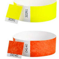 1inch Tyvek Wristbands DUAL Numbered Solid Colors 500