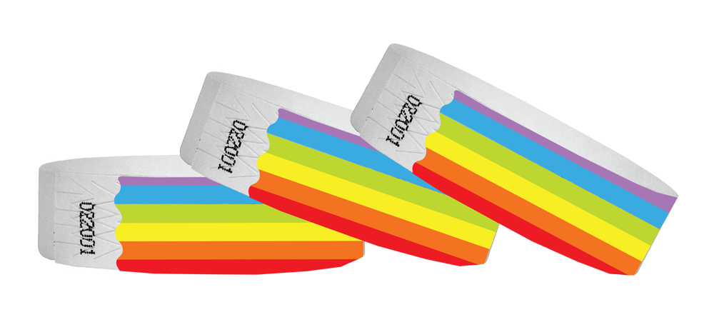 3/4 Tyvek Wristband Design Rainbow