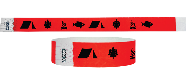 3/4 Tyvek Wristband Camping Tent/Tree/Fire/Fish Style 500