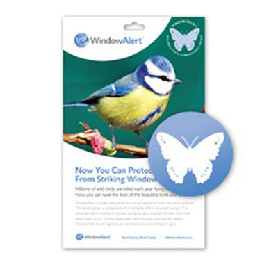 WindowAlert Modern Butterfly Decal Envelope - 4 decal pack - BIRD CONTROL - FLOCK FREE