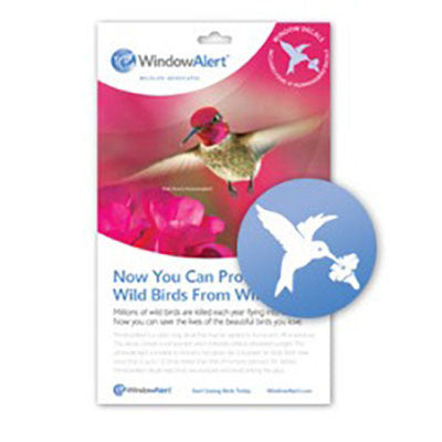 WindowAlert Modern Hummingbird Decal Envelope - 4 decal pack - BIRD CONTROL - FLOCK FREE