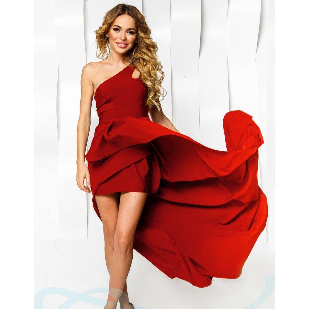 Asymmetrical Red Evening Dress - The Icons Lounge - Christmas Gifts - Cadeaux Noel - The best Swiss online department store!