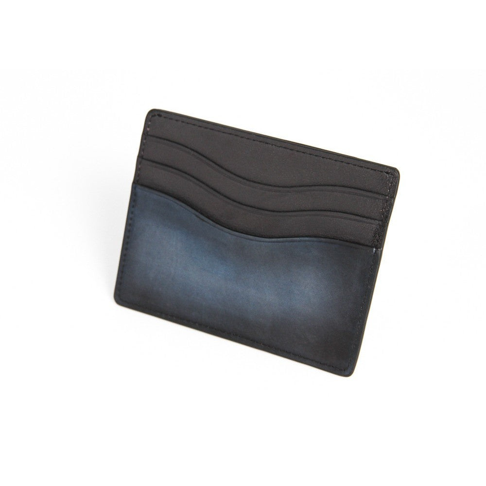 Hand Shaded Blue Credit Card Holder 5P + Bill Compartment - Parley Zurich - Christmas Gifts - Cadeaux Noel - The best Swiss online department store!