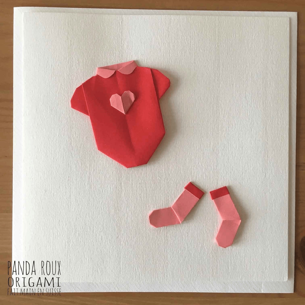 Card Heart Baby Body - Carte Body Bébé Coeur - Panda Roux Origami - Free delivery - Gifts - The best Swiss online department store!