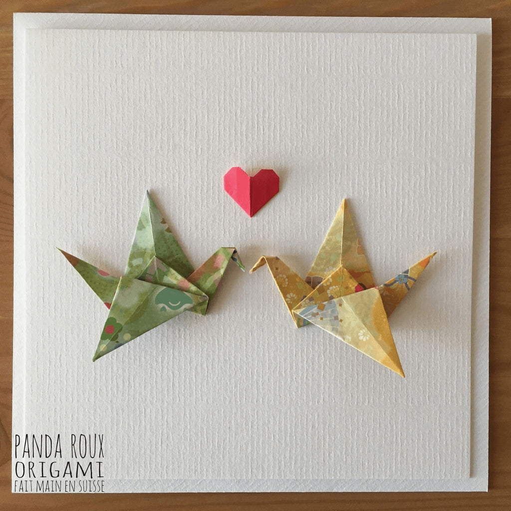 Card Cranes in Love - Carte Grues Amoureuses - Panda Roux Origami - Christmas Gifts - Cadeaux Noel - The best Swiss online department store!
