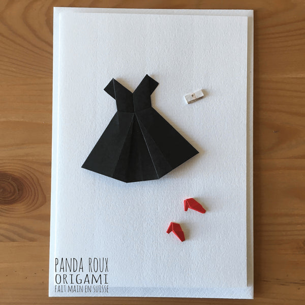 Card Little Black Dress - Carte La Petite Robe Noir - Panda Roux Origami - Christmas Gifts - Cadeaux Noel - The best Swiss online department store!
