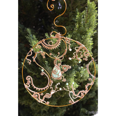 Elysian - Energy catcher made of copper and embellished with Aventurine gemstone and Jade. - ANAPAZ - Christmas Gifts - Cadeaux Noel - The best Swiss online department store!
