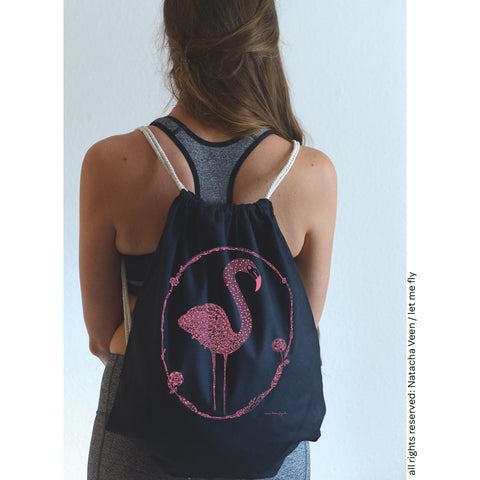 Black Gymbag & Pink Flamingo - Let Me Fly - Christmas Gifts - Cadeaux Noel - The best Swiss online department store!