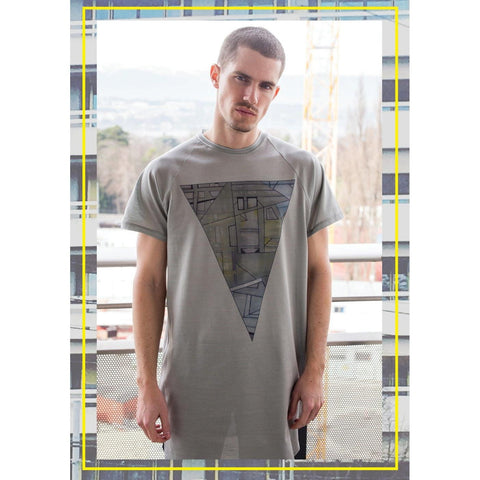 "Longline t-shirt, Men's T-shirt, Printed Long T-shirt, Grey T-shirt,""Urban Triangle"" - U/C by Eliran Ashraf - Christmas Gifts - Cadeaux Noel - The best Swiss online department store!"