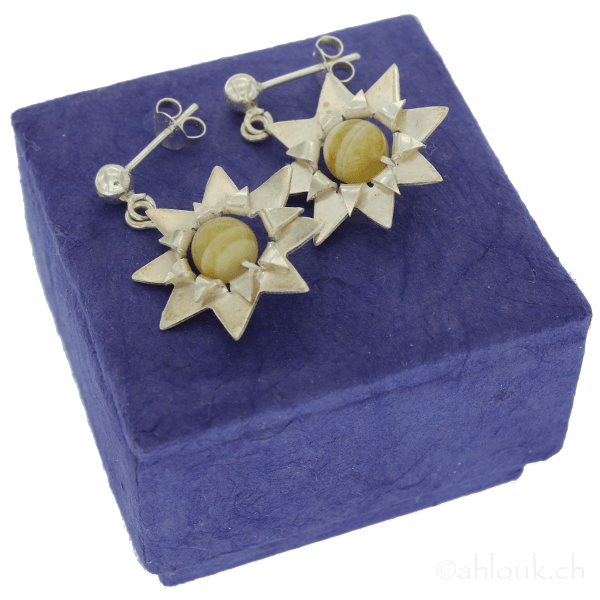 Clizia - Flower Earrings - Ahlouk - Christmas Gifts - Cadeaux Noel - The best Swiss online department store!