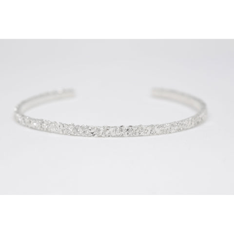 """Crushed"" silver fine bangle"