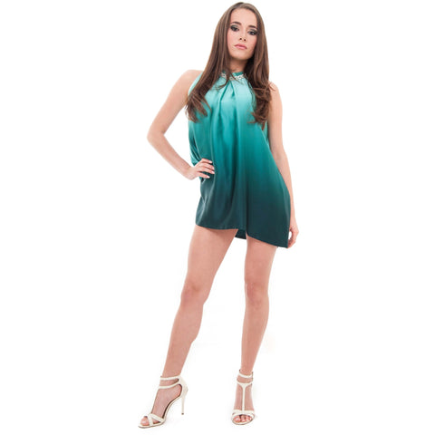 Chick Teal Gradient Silk Tunic