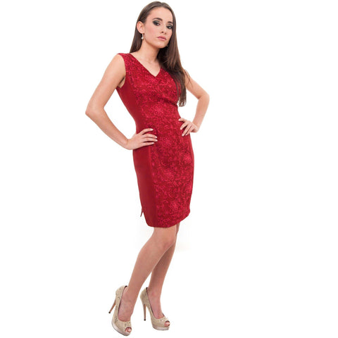 Ravishing Red knee length Silk dress