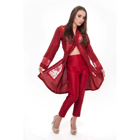 Exquisite Red Silk Organza Cape