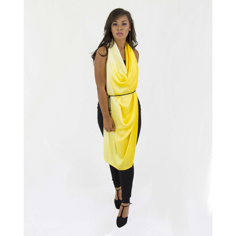 Yellow Gradient Silk Sleeve Cape