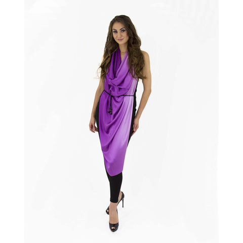 Purple Gradient Silk Sleeve Cape