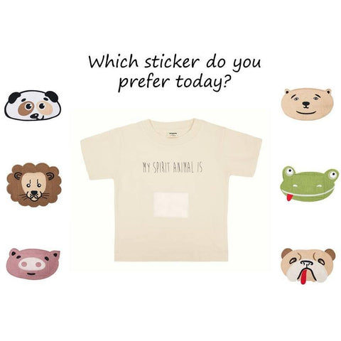 Full Set of My Spirit Animal T-shirt incl. all Stickers (for kids of 1-10 years and adults) - Pamboo - Christmas Gifts - Cadeaux Noel - The best Swiss online department store!